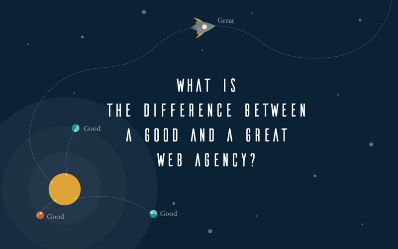 Illustration with the text What is the difference between a good and a great web design company
