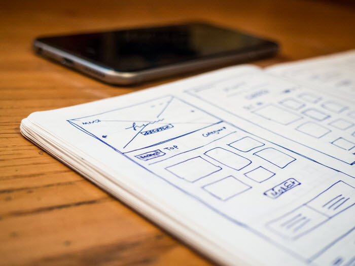 designing website with a wireframe prototype