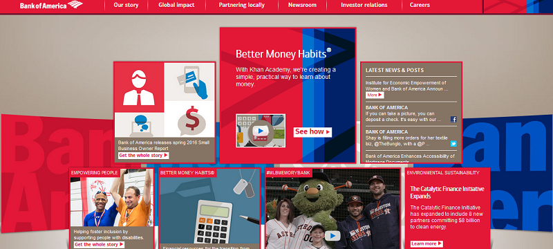 Bank of America's About us section