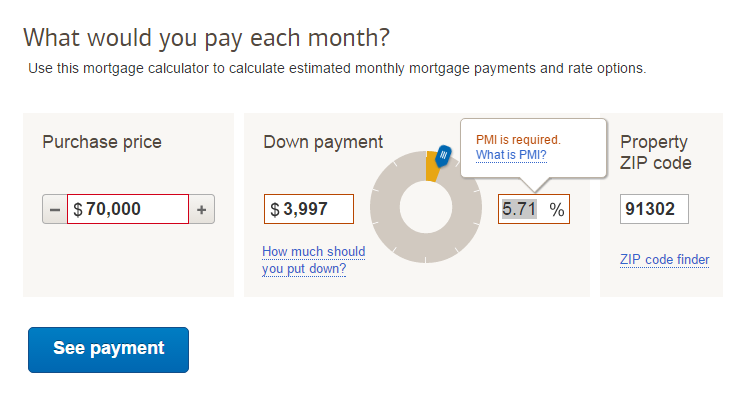 Bank of America's credit calculator tool