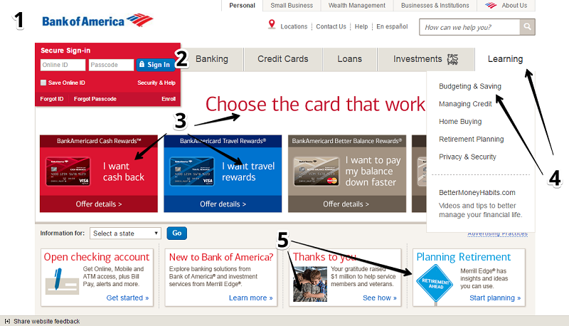Bank of America's homepage