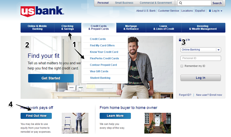 US Bank's homepage