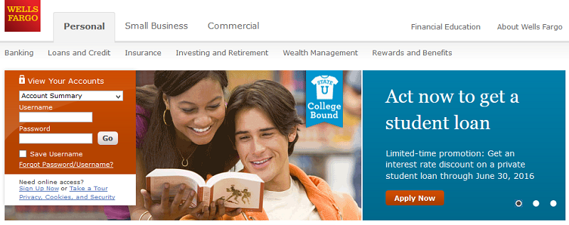 Wells Fargo Bank's homepage